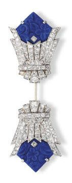 Platinum, White Gold, Diamond and Carved Lapis Lazuli Jabot Brooch, Circa 1925