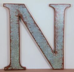 """Letter N, 12"""" Wood Letter Wall Decor, Blue Haze Print, Decoupaged and Painted ...............Free US Shipping"""