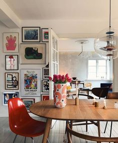 Gallery wall inspiration: eclectic collection with touches of color. Are you looking for unique and beautiful art photos or poster prints (not the ones featured. Dining Room Pictures For Walls Inspiration Wall, Interior Inspiration, My Living Room, Living Spaces, Room Pictures, Dining Room Design, Dining Rooms, Decor Room, Room Art