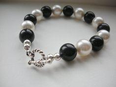Black and White Swarovski Pearl Bracelet