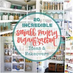 You will love these 20 incredible small pantry organization ideas and makeovers - chock full of helpful tips and beautiful inspiration so you can organize your small pantry today. Small Pantry Organization, Pantry Storage, Organization Hacks, Kitchen Storage, Kitchen Pantry, Pantry Ideas, Household Organization, Organizing Tips, Cleaning Tips