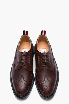 6dd493c9f11 THOM BROWNE Cocolate waxy leather longwing brogues.