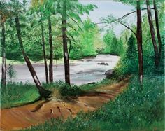 """The trail is what brings us together… They may have tree roots that may trip you up; they may have weeds and thorns that may prick you if you get too close; they may have rapids that you may have to walk around, but the views they offer are endless and unforgettable."" One Path Given — Acrylic by a Family Member, Friend, or Caregiver, Wisconsin. Lilly Oncology On Canvas entry, 2008. www.lillyoncologyoncanvas.com"