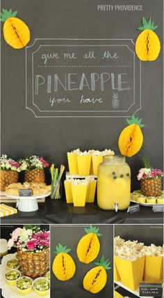 Pineapple party ideas - pineapple salsa, pina colada popcorn, honeycomb pineapples