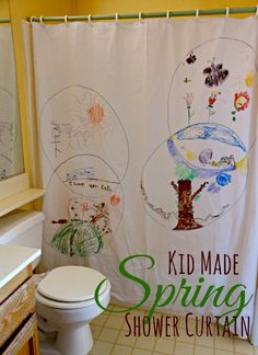 Spring drawing for kids on a shower curtain. What a fun decoration!