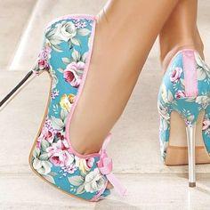 ❤ Blue Floral Heels