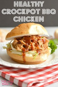 This Healthy Crockpot BBQ Chicken recipe is perfect for meal prep for make ahead lunch and dinner. Protein packed & made low in sugar with only 3 ingredients. A healthy meal & the crockpot does all the work! Gluten Free + Low Calorie