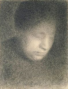 Georges-Pierre Seurat (1859-1891), his drawing of his mother - Madame Seurat.