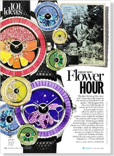 Jewelry News: Flower Hour. Watches, prices upon request, Dior Timepieces; dior.com - image clipped from page 138 of Marie Claire, Oct 2013 i...