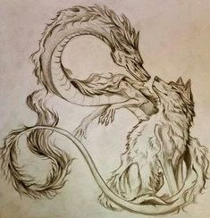 Tattoo idea of wolf and dragon Chinese dragon together design ink