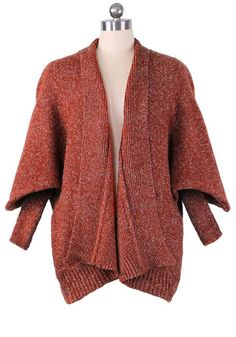 / brown plain pockets v-neck thick wool blend cardigan