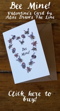 Alice's bees have flown into a heart formation to celebrate Valentine's Day! Perfect for those with an interest in Bees or Beekeeping, or flowers and pollinators.  Alice has an interest in flora and fauna.  This is an A6 greeting card is, printed on recycled card and is blank inside. It is sold with a brown craft envelope and in a clear cellophane bag. Bee, Bees, Beekeeping, Bee Mine, Valentine's Card, Valentines Day, Bee Illustration, Bespoke Wedding Stationery, Beekeeper Wedding, Bee Mine…