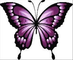 Easy Butterfly Drawing, Purple Butterfly Tattoo, Butterfly Cross Stitch, Butterfly Painting, Butterfly Wallpaper, Blue Butterfly, Simple Butterfly, Butterfly Pictures, Counted Cross Stitch Patterns