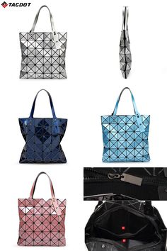 [Visit to Buy] With Logo New Women BAOBAO Bag Geometry Package Sequins Mirror Saser Plain Folding Handbags Fashion Ladies Shoulder Bags 6*6  #Advertisement