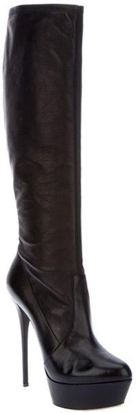Casadei Knee High Platform Boot in Black