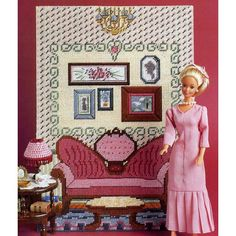 Victorian Setting Sitting Room Wall Mural & Lamp Barbie Fashion Doll Plastic Canvas Patterns