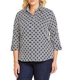 Allison Daley Plus Printed Button Front Woven Shirt #Dillards