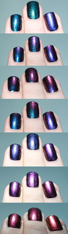 Duochrome Ozotic polishes. I just bought some duochrome pigments and I hope to franken dupes of these!