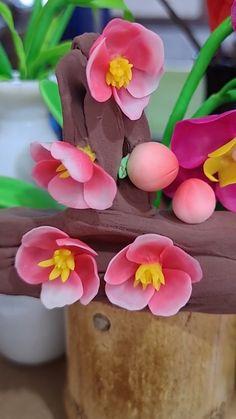 Cute Polymer Clay, Cute Clay, Polymer Clay Flowers, Polymer Clay Projects, Diy Clay, Handmade Polymer Clay, Fondant Flower Tutorial, Clay Creations, Flower Making