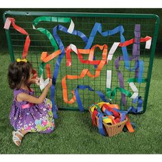 """With safely rounded corners and a powder-coated finish, this unique weaving frame serves as a creative focal point both indoors and out. Weaving strips (sold separately) in varying lengths and fabrics add sensory experiences, fine motor development, and opportunities for patterning, color recognition, math and problem-solving skills. Frame measures 48""""W x 36""""H."""