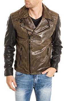 7e188963500f Gipsy Herren Lederjacke Men Leather Jacke Biker Echtleder Malcom 2 Braun  Schwarz (L)  Amazon.de  Bekleidung