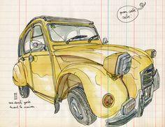 Urban sketchers show the world, one drawing at a time. Sketchbook Inspiration, Art Sketchbook, Travel Symbols, Mobile Art, Oldschool, Urban Sketchers, Car Sketch, Illustrators, Barcelona