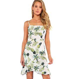 Knot Back Backless Asymmetrical Ruffle Hem Spaghetti Strap Tropical Cami Dress White Dress Summer, Green Dress, Summer Dresses, Summer Outfits, Trendy Dresses, Club Dresses, Dress Outfits, Fashion Outfits, Dress Fashion