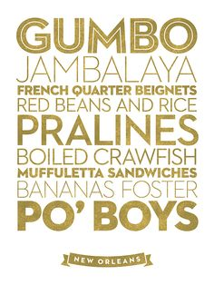 """New Orleans, from """"Delicious City Prints, A Typographic Regional Food Poster Series"""""""