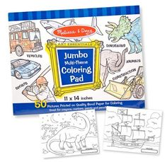 "Melissa & Doug Jumbo Coloring Pad - Blue by Melissa & Doug. $5.99. For ages 3+ years. Oversized 11"" x 14"" sheets leave lots of room for creative fun. 50 high-quality pages of premium white bond paper. Pages tear out easily. Great for inspiring creative expression and exploring color. From the Manufacturer                Finally. An oversized coloring book where the outline drawing appears on one side only, so that your child's masterpiece won't smudge. The 11"" x 14""..."