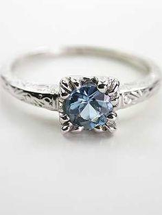Vintage 1950s Aquamarine Engagement Ring