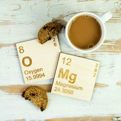 OMg Periodic Table Wooden Coasters Set #Coasters #OMG #Science #Kitchen - Madeofmillions.com