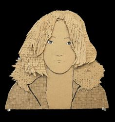 5 Cardboard Portraits by 12th Graders.