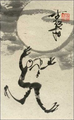 Frog Running, featured artist: #Jan Zaremba #brushpainting #sumie http://www.asianbrushpainter.com/blog/gallery/jan-zaremba/