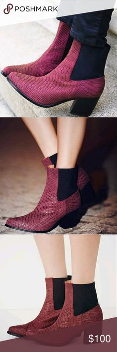 Free people Jeffrey Campbell Frontier red booties new without box.   Size 7.5  New Frontier Boot  Western inspired stacked heel ankle boots with snakeskin textured leather uppers and stretchy elastic backs.  Jeffrey Campbell x Free People Jeffrey Campbell Shoes Ankle Boots & Booties