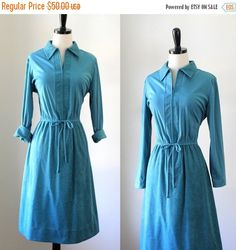 1970s Turquoise Suede Day Dress $40 by SassySisterVintage