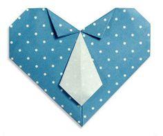 corazon de origami con corbata