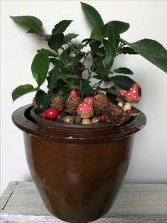 Juledekoration lavet i potteplante - en god måde at bruge potteplanter man alligevel har stående i jule-pynte-tætheden.