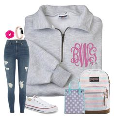 """""""Molly school"""" by classyeva ❤ liked on Polyvore featuring River Island, JanSport, Converse and Fitbit"""