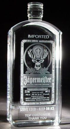 Custom Laser Etched Jager Bottle...made of Crystal....Sooooooooooo cool!!!