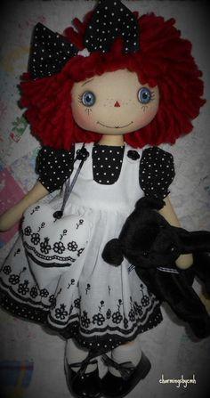 E-pattern 16 inch Raggedy Annie cloth rag doll by charmingsbycmh
