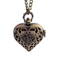 Women Bronze Heart Pocket Watch Necklace