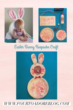 Easter Bunny Keepsake Craft for Babies Bunny Crafts, Glue Crafts, Easter Activities, Activities For Kids, Keepsake Crafts, Paper Plates, Easter Bunny, Babies, Cards