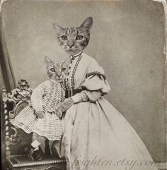 Mothers Day Cat Art Print, Tabby Cat Family Portrait, Altered Victorian Antique Photo of Mother and Son, Mixed Media Collage