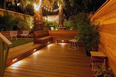 Landscape Deck Design, Pictures, Remodel, Decor and Ideas - Modern Landscape Lighting Design Ideas Bringing Beauty and Security into Homes Outdoor Deck Lighting, Landscape Lighting, Outdoor Decor, Pathway Lighting, Deck Design, Landscape Design, Backyard Patio, Backyard Landscaping, Backyard Ideas