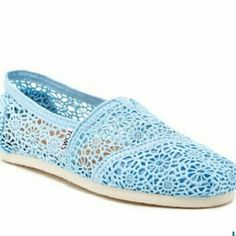 TOMS crochet classic slip on shoe New in box available sizes 7 & 8 Runs true to size Goring at inset Top stitching Suede insole Color light blue TOMS Shoes Flats & Loafers