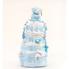 4 Tier Deluxe Nappy Cake - Blue | Baby Gifts and Baskets. #Nappy cake, #shower #cake, ideas for #baby, boy #gifts.  http://www.heritagehampers.com/gift-types/baby-gifts-nappy-cakes/4-tier-deluxe-nappy-cake---blue---baby-gift