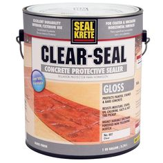 Clear Seal Gloss Sealer 606001 at The Home Depot – Mobile Seal-Krete 1 gal. Clear Seal Gloss Sealer 606001 at The Home Depot – Mobile Concrete Sealer, Painted Concrete Floors, Painting Concrete, Stamped Concrete, Concrete Crafts, Deck Sealer, Paver Sealer, Wood Sealer, Jars