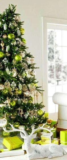 Christmas tree decoration ideas ToniKami Ðℯck Ʈհe HÅĿĿs #Christmas lime green silver gold