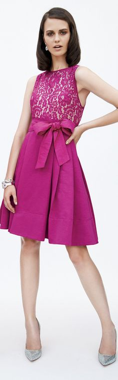 Eliza J Mixed Media Fit & Flare Dress in Ruby