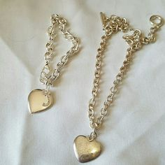 """Tiffany's style heart necklace and bracelet. Necklace is silver, needs to be polished. Cannot vouch for bracelet. """"J"""" is removable. Jewelry Necklaces"""